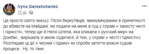 Оббрехала і збезчестила: Штепа подала до суду на Геращенко